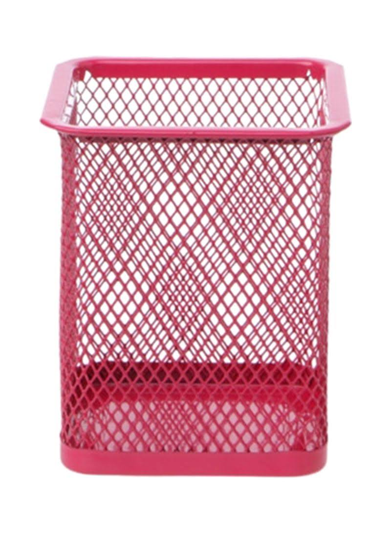 FOS PEN HOLDER METAL PINK COLOUR SQUARE ASSOR