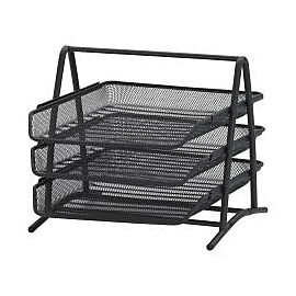 FOS 3 TIER METAL TRAY FIXED BLACK
