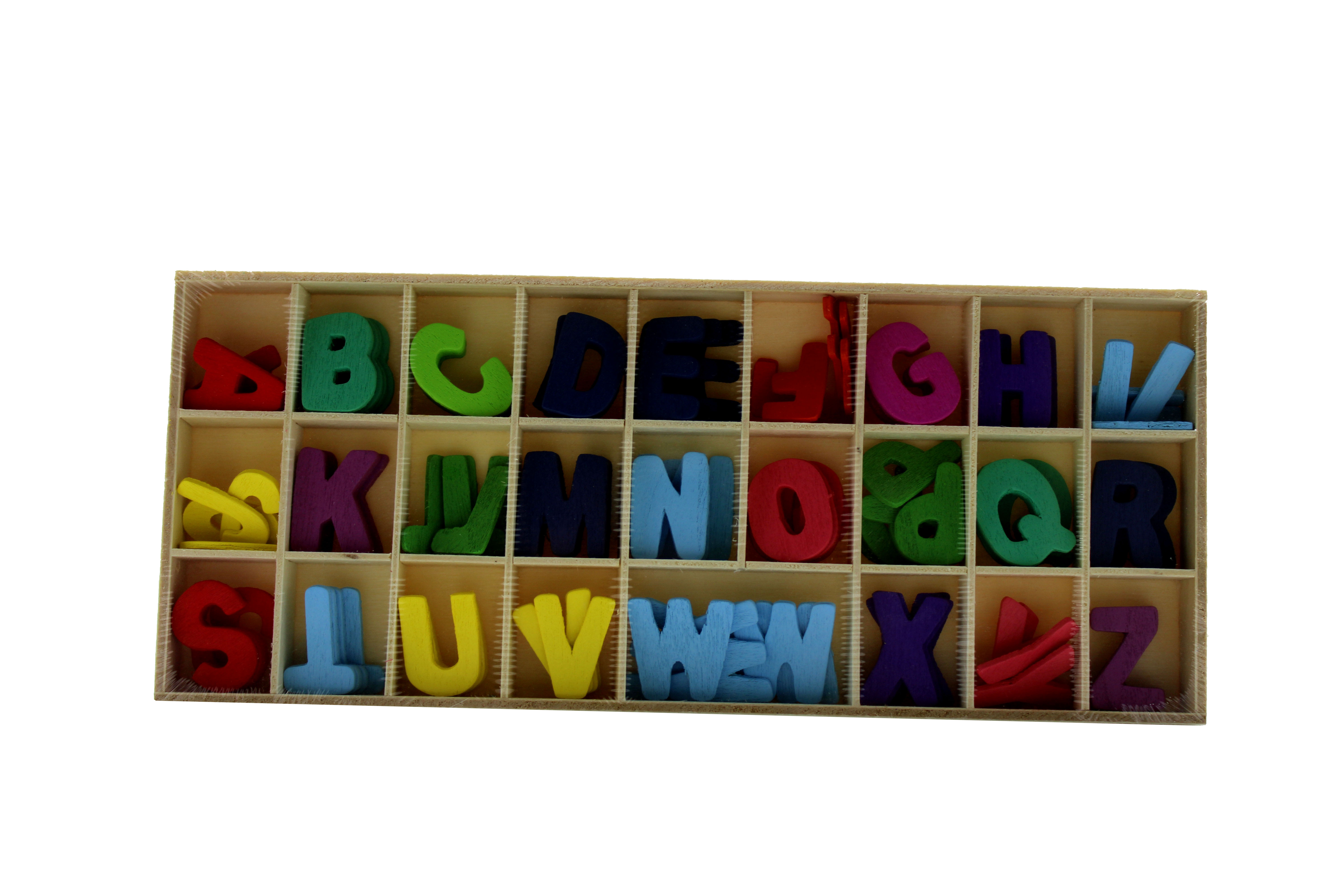 FOS  SET OF 3 WOODEN ALPHABETS COLORED