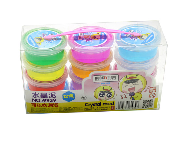 Xiaoji Duckey 9939 Crystal Mud Plasticine and Modeling Clay Slime Play- 12 Colours  Set