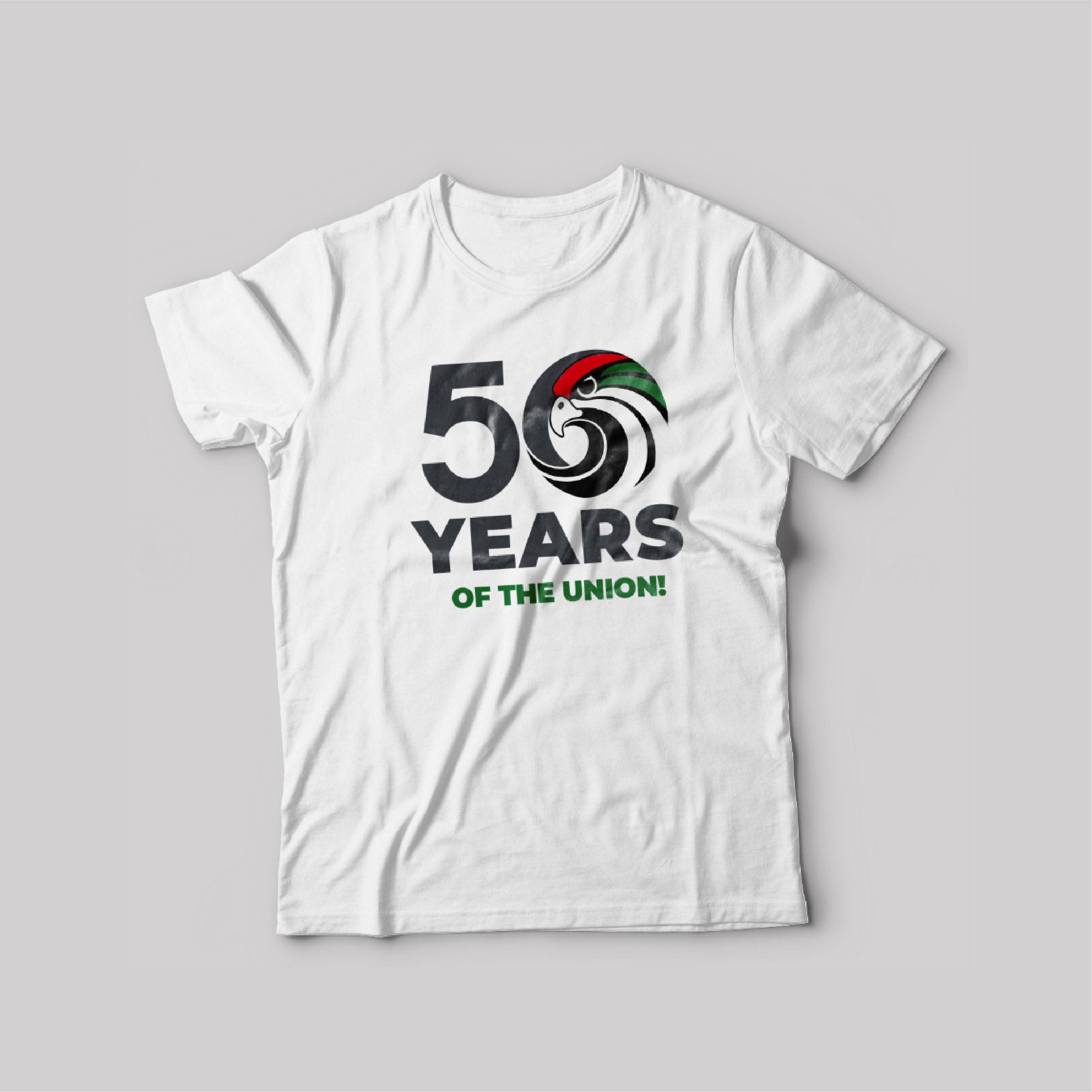 UAE National day T-Shirt White Round Neck For Unisex 50 years of Union