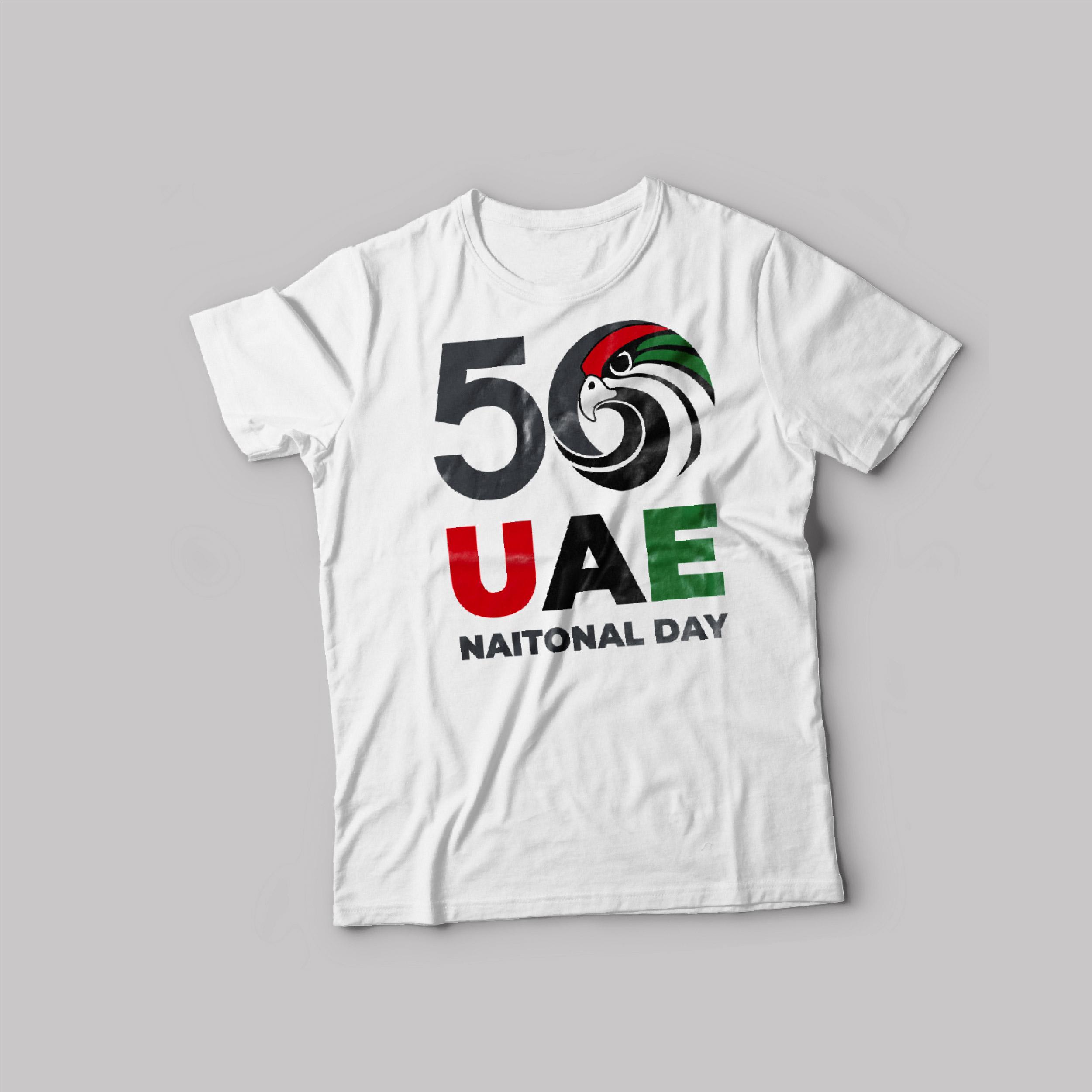 UAE National day T-Shirt White Round Neck For Unisex Eagle 50 Years