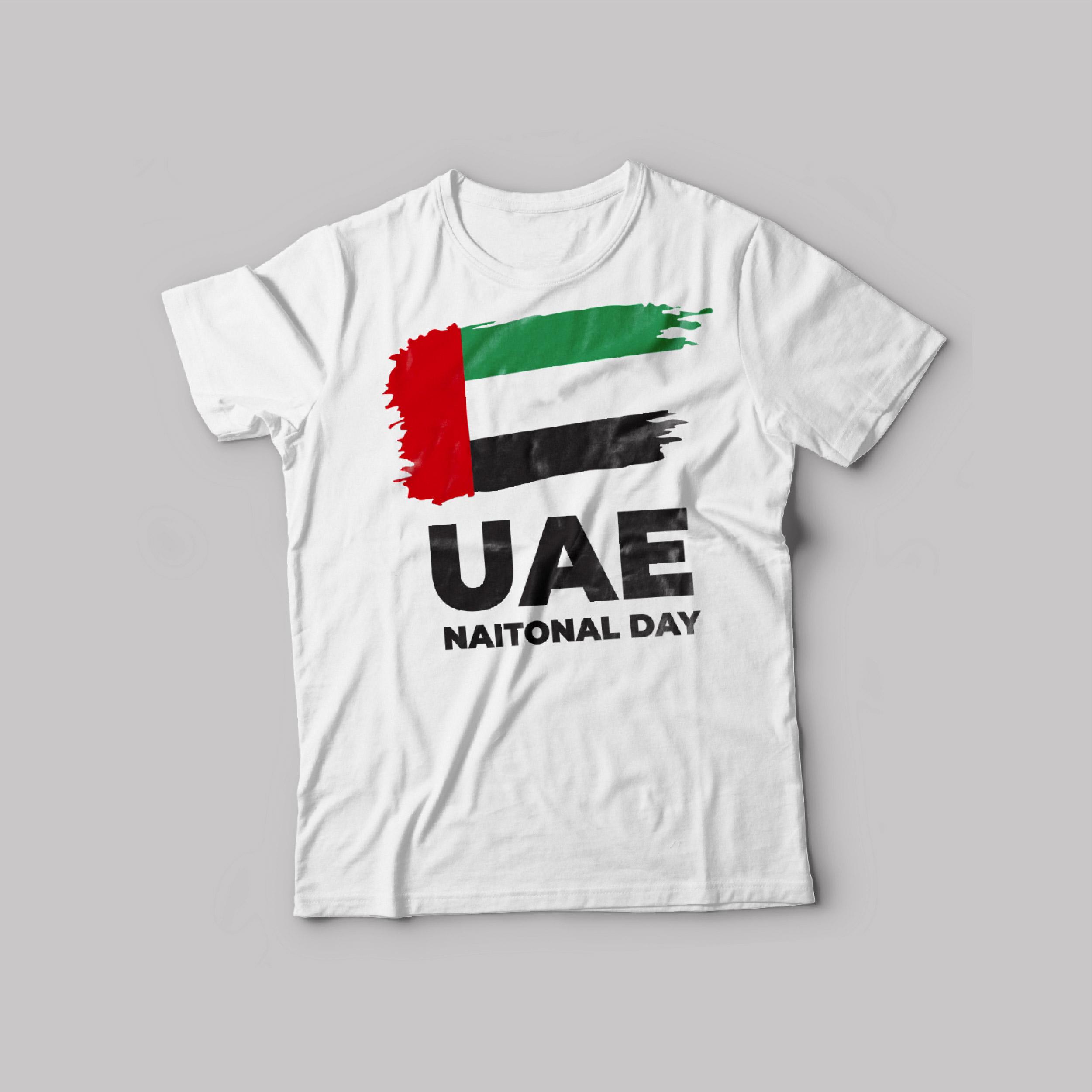 UAE National day T-Shirt White Round Neck For Unisex UAE Flag 50