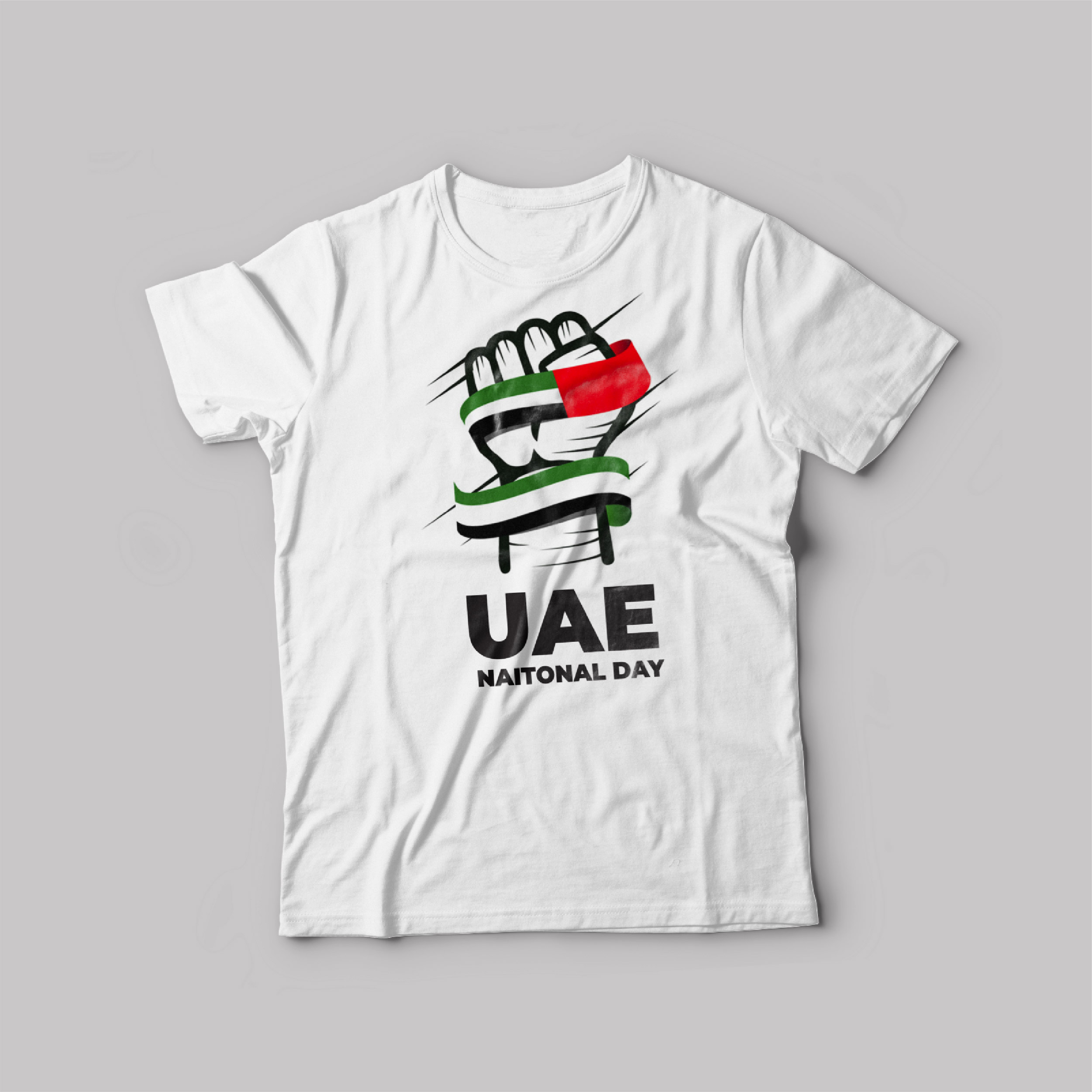 UAE National day T-Shirt White Round Neck For Unisex 50 Years power Punch
