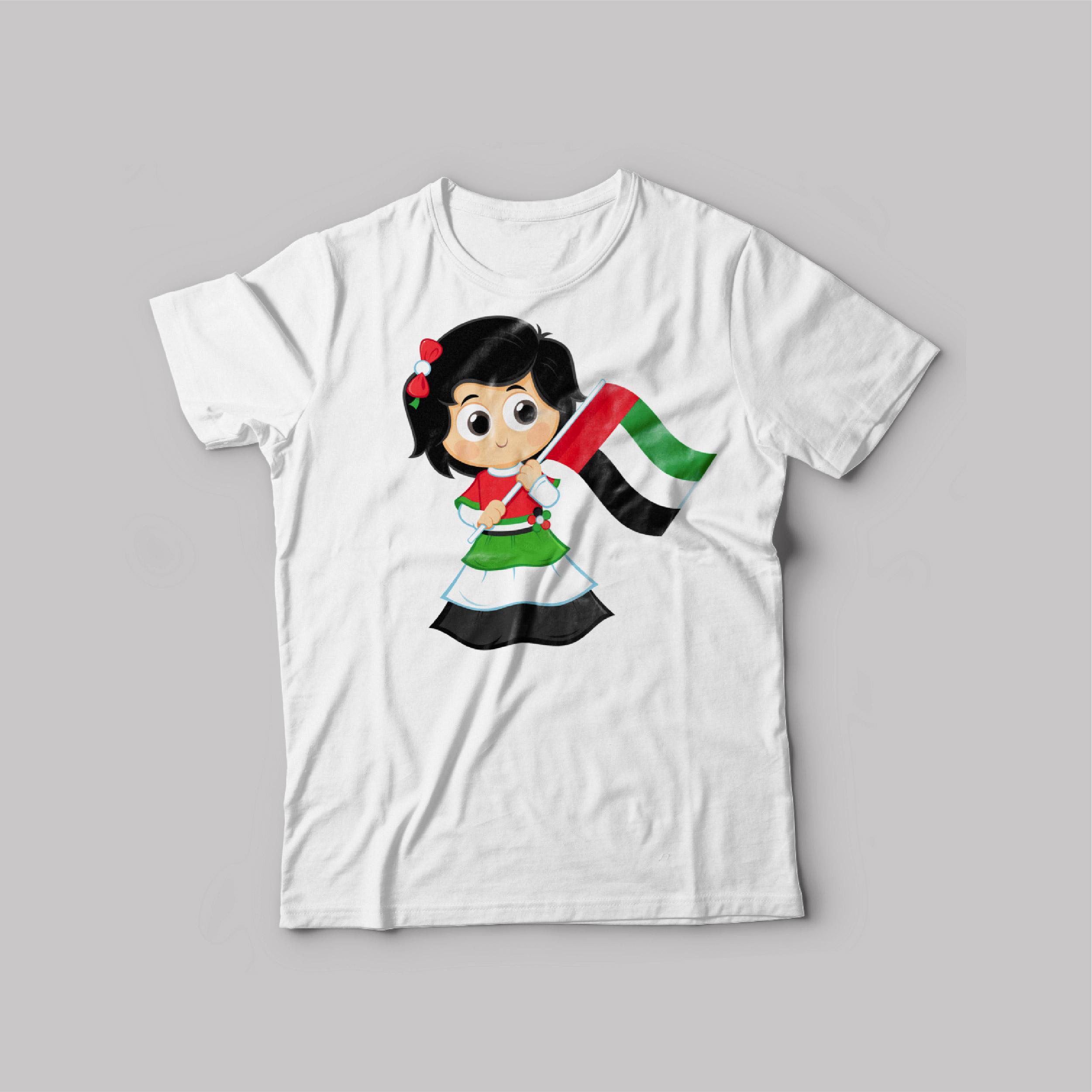 UAE National day T-Shirt White Round Neck For Unisex Doll UAE Flag 2