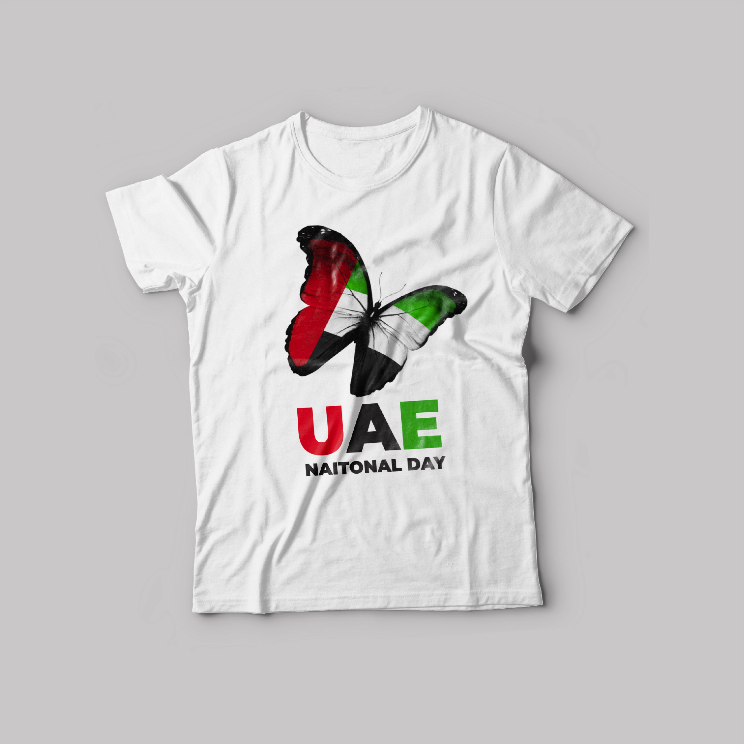 UAE National day T-Shirt White Round Neck For Unisex UAE Butterfly